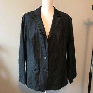 Lane Bryant Blk Denim Stretch Blazer Jacket 20